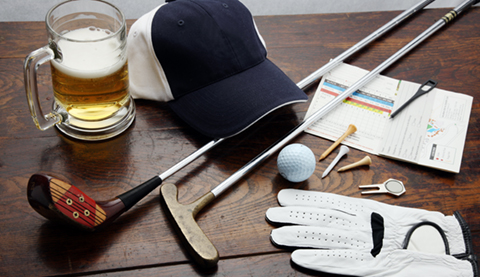golf supplies and beer